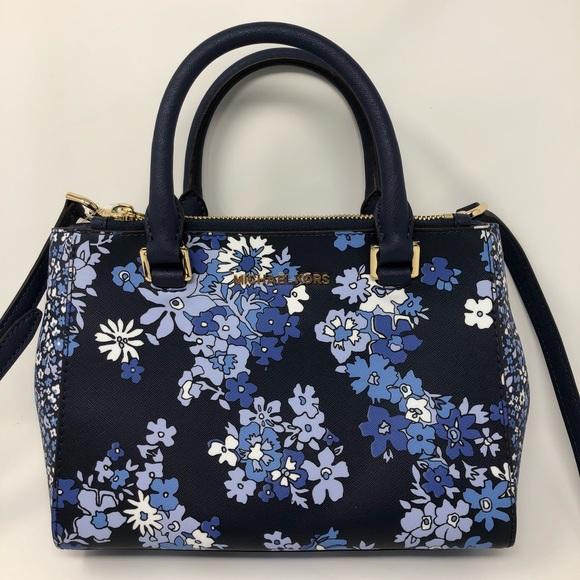 8b498c9eca92 Michael Kors Bags | Kellen Xs Satchel Bag Navy Floral | Poshmark